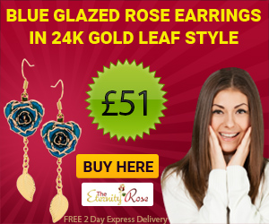 Blue glazed rose earrings